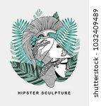 hipster classical sculpture.... | Shutterstock .eps vector #1032409489