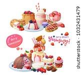 dessert cafeteria menu. top... | Shutterstock .eps vector #1032431479