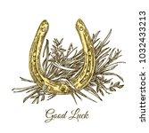 good luck. golden horseshoe and ... | Shutterstock .eps vector #1032433213