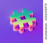 icon of yellow green hashtag... | Shutterstock . vector #1032435973