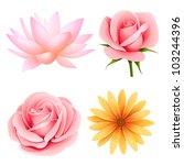 flowers set of rose  lotus ... | Shutterstock . vector #103244396