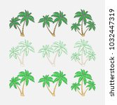 set of silhouettes of palm... | Shutterstock .eps vector #1032447319