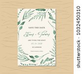 save the date card with green... | Shutterstock .eps vector #1032450310