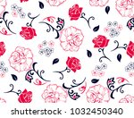 floral rose pattern small and... | Shutterstock .eps vector #1032450340