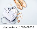 cute blue ladies bag  stylish... | Shutterstock . vector #1032450790