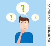 young man with lots of doubts.... | Shutterstock .eps vector #1032451420