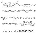 set of decorative florish... | Shutterstock .eps vector #1032459580