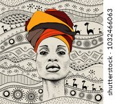 african woman with african in... | Shutterstock .eps vector #1032466063