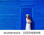 cute girl in a white dress and... | Shutterstock . vector #1032468448