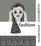 new fashion scarf for ladies. a ... | Shutterstock .eps vector #1032484924
