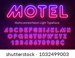 neon light alphabet ... | Shutterstock .eps vector #1032499003