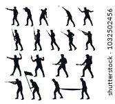 war men silhouettes set | Shutterstock .eps vector #1032502456