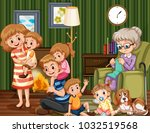 family with children and... | Shutterstock .eps vector #1032519568