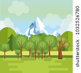 landscape with mountains scene | Shutterstock .eps vector #1032526780
