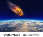 meteor falling to planet earth .... | Shutterstock . vector #1032534943