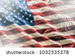 close up american flag studio... | Shutterstock . vector #1032535378