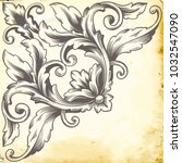 retro baroque decorations... | Shutterstock .eps vector #1032547090