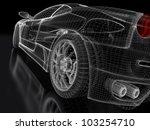 3d Sport Car Model On A Black...
