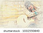abstract beautiful man playing... | Shutterstock . vector #1032550840