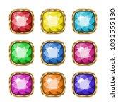 colored gemstones set in gold.... | Shutterstock .eps vector #1032555130