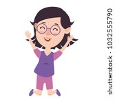 cute and little girl celebrating   Shutterstock .eps vector #1032555790