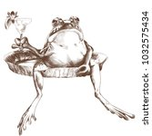 the toad sits with a raised paw ...   Shutterstock .eps vector #1032575434