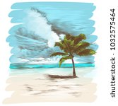 a sandy beach with a palm tree  ...   Shutterstock .eps vector #1032575464