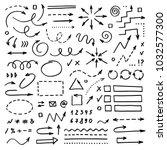 hand drawn vector arrows set on ... | Shutterstock .eps vector #1032577300