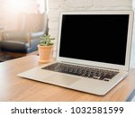 empty space wooden desk with on ... | Shutterstock . vector #1032581599