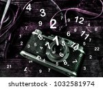 ancient camera and numerology | Shutterstock . vector #1032581974