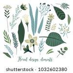 vector floral design elements.... | Shutterstock .eps vector #1032602380