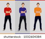 young man in casual clothes | Shutterstock .eps vector #1032604384