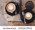 cappuccino or piccolo coffee... | Shutterstock . vector #1032619963