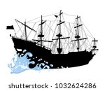 black silhouette of the pirate... | Shutterstock .eps vector #1032624286