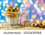 easter card. golden eggs in a... | Shutterstock . vector #1032630568