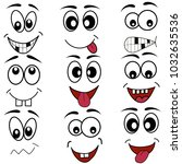 cartoon mouth eyes face icons... | Shutterstock .eps vector #1032635536