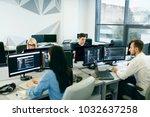 people working in modern office.... | Shutterstock . vector #1032637258