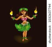 girl dancer in hawaiian folk... | Shutterstock .eps vector #1032637744