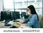 young woman working and... | Shutterstock . vector #1032639910