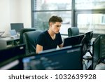 programming. man working on... | Shutterstock . vector #1032639928