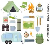 set of travel equipment.... | Shutterstock .eps vector #1032646090