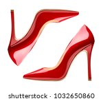close up of red high heels on... | Shutterstock . vector #1032650860