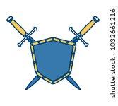 metallic warrior shield with...   Shutterstock .eps vector #1032661216