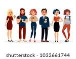 people drinking coffee vector... | Shutterstock .eps vector #1032661744