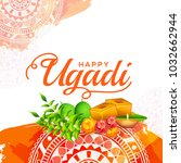 illustration of ugadi with... | Shutterstock .eps vector #1032662944