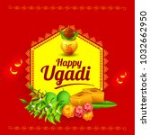 illustration of happy ugadi... | Shutterstock .eps vector #1032662950