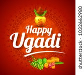 illustration of ugadi with... | Shutterstock .eps vector #1032662980