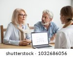 senior couple talk to real... | Shutterstock . vector #1032686056