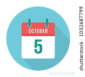 october 5 icon calendar flat.... | Shutterstock .eps vector #1032687799
