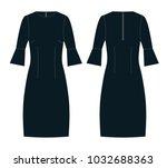 dress with designer sleeves...   Shutterstock .eps vector #1032688363